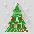 Vector paper christmas tree simple made from pieces of color original new year card Royalty Free Stock Image