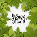 Vector paper cut leaves. Summer tropical banner