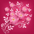 Vector paper cut sakura flowers with mehndi ornament on background. Floral volumetric composition. Royalty Free Stock Photo