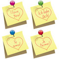 Vector paper notes with I love you words Royalty Free Stock Photography
