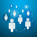Vector paper people in circles social media connection symbols on blue background Royalty Free Stock Photo