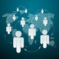 Vector paper people on world map social media connection Royalty Free Stock Image