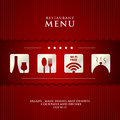 Vector paper restaurant menu design on red background cover Stock Image