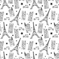 Vector Paris Streets Black White Drawing Seamless Pattern with Eifel Tower, houses, cars and stars. nn