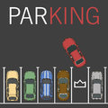 Vector parking lot illustration. Car and transportation, auto park, empty row/ car top view
