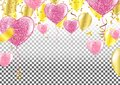 Vector party balloons illustration. Confetti Greeting card desi