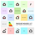 Vector passive houses icon set icons and pictograms Royalty Free Stock Images