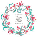 Vector pastel color floral frame with flowers. Wedding, birthday Royalty Free Stock Photo