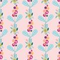 Vector pastel folk floral motifs seamless pattern.
