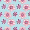 Vector pastel folk flower motifs seamless pattern.