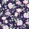 Vector pastel kimono flowers on black seamless pattern graphic design Royalty Free Stock Photography