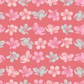 Vector pastel light red cherry blossom sakura flowers and seamless pattern background