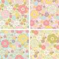 Vector pastel seamless floral pattern in four color combinations Royalty Free Stock Photos