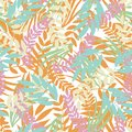 Vector pastel tropical leaves on white background. Wild jungle foliage.