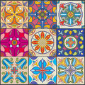 Vector patchwork seamless wall tile pattern, ceramic mexican tiles