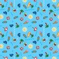 Vector pattern beach holiday, summer theme, palm trees, sun, sea wallpaper Royalty Free Stock Photo