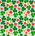 Vector pattern with clovers, trefoils. St. Patrick`s day texture. Decorative floral background with flowers.