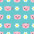 Vector pattern with cute piglets
