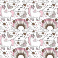 Vector pattern with cute unicorns