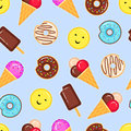 Vector pattern of donuts and ice creams