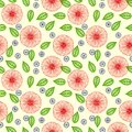 Vector pattern with flowers drawn in thin lines seamless random red and vibrant green color texture for web print wallpaper home Royalty Free Stock Photography