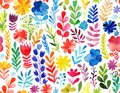 Vector pattern with flowers and plants. Floral decor. Original floral seamless background Royalty Free Stock Photo