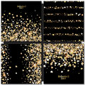 Vector pattern with gold hearts on black background Royalty Free Stock Photo