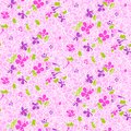 Vector pattern with hand drawn lilac flowers vintage bunch of on bright pink background seamless texture for print wallpaper Stock Image