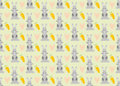 Vector pattern with hares.