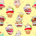 Vector pattern. Illustration of fantastic cakes in the tender yellow background. hipster background