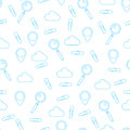Vector pattern made of clip, magnifying glass, GPS geo tag, store cloud. Seamless tiling background. Search service concept