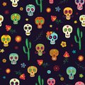 Vector seamless pattern with sugar skulls on a dark background