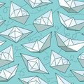 Vector pattern with paper ships Royalty Free Stock Photo