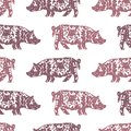 Seamless background of spotted pigs