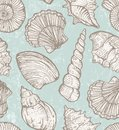 Vector pattern with sea shells seamless hand drawn seashells illustration eps Royalty Free Stock Image