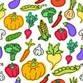 Vector pattern of seamless background with vegetables.