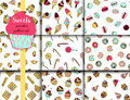 9 vector pattern set with doodle sweets.