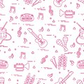 Vector pattern of sheet music and different musical toys: guitar Royalty Free Stock Photo