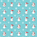 Vector pattern with snowmen. Royalty Free Stock Photo
