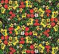 Vector pattern traditional russian style hohloma floral ornamental in Stock Photos