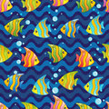 Vector Pattern with underwater design and funny sea creatures Royalty Free Stock Photo