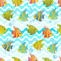Vector Pattern with underwater design and funny sea creatures