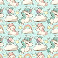 Vector pattern with unicorn, clouds and rainbow