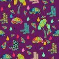 Vector  pattern.    violet  background,     many, multicolor  ,  Abstract Background . seamless pattern, rain; umbrella; shoes; Royalty Free Stock Photo