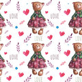 Vector pattern with watercolor cute teddy bears.