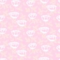 Vector pattern with white hand drawn rose flowers vintage floral small on soft pink background Royalty Free Stock Photo