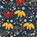 Vector pattern with yellow, red, blue, turquoise flowers and leaves.Texture, background, wallpaper