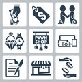Vector pawnshop icons set