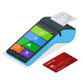 Vector payment machine and credit card. POS terminal confirms the payment by debit credit card, invoce. Isometric