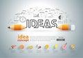 Vector pencil ideas concept doodles icons set